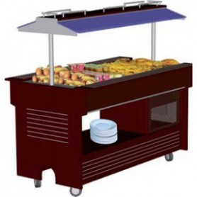 BUFFET MIXTE CENTRAL MOBILE Froid & chaud - 4 bacs -